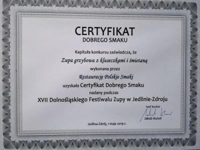 certyfikat dobrego smaku